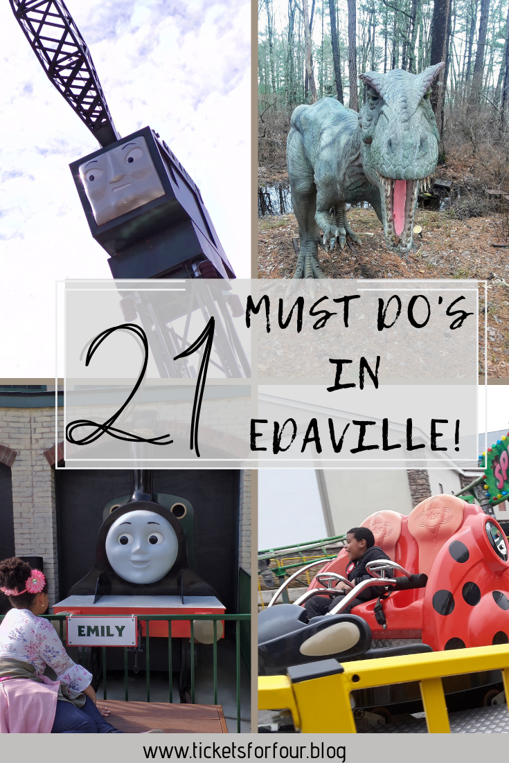 21 Must Do's in Edaville!:Edaville is a Family Theme Park located in Carver, Massachusetts. This truly is a family theme park as their are rides for everyone in the family to enjoy.Edaville is divided up into three areas;  Cran Central, Thomas Land, and Dino Land. We have put together a list of our 21 Must Do's in Edaville! #Edaville #ThomasLand #WhatodoinCarverMA #EdavilleFamilyThemePark #DinoLand