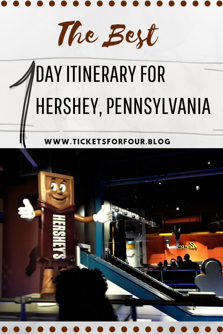 The Best 1 Day Itinerary for Hershey, Pennsylvania:Where is the sweetest place on earth? Well its located right in Hershey, Pennsylvania. Hershey's Park admission tickets includes access to three major parks with one ticket price; Boardwalk, Zoo America, and Hershey Park. With things to do for the whole family it is easy to see why this is the sweetest place on earth. We had the opportunity to explore Hershey's Park and created this list to help you make this the sweetest trip ever! #ChocolateWorld #HersheyPennsylvania #WhattodoinHersheyPennsylvania #HersheyPark #WhattodoinHersheyPark