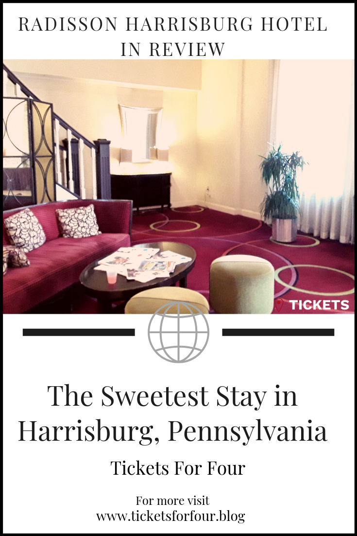 The Sweetest Stay in Harrisburg, Pennsylvania: Hotel Radisson Harrisburg sits just across from the Susquehanna River in downtown Harrisburg. The hotel is conveniently located near the Pennsylvania State Capitol and other major tourist attractions in Harrisburg. Take some time during your trip to visit The State Museum of Pennsylvania or catch a Harrisburg Senator's baseball game on Harrisburg City Island. This hotel is just a short trip away to the Sweetest Place on Earth in Hershey, Pennsylvania. With free parking, convenient location, and Radisson perks making this the Sweetest Stay in Harrisburg, PA. #WheretostayinHarrisburg #WheretostayinHershey #radissonStay #FamilyHotels